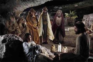 MARÍA, EL NIÑO JESÚS, JOSÉ, LOS TRES MAGOS